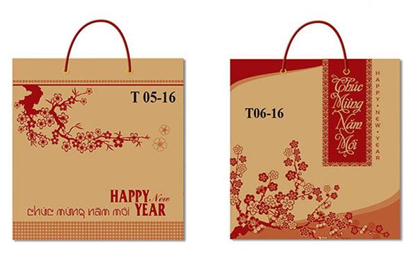 Mẫu túi giấy đựng lịch tết chất liệu Kraft