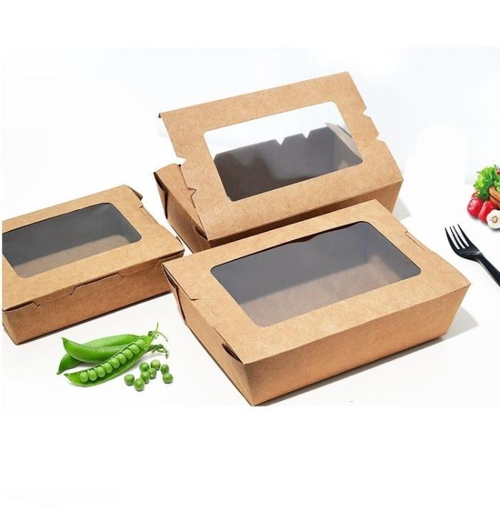 Mẫu hộp giấy đựng thức ăn có bóng kính